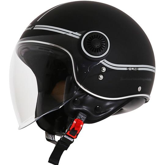 Casque de moto Jet Scotland Fashion Visor Black Silver