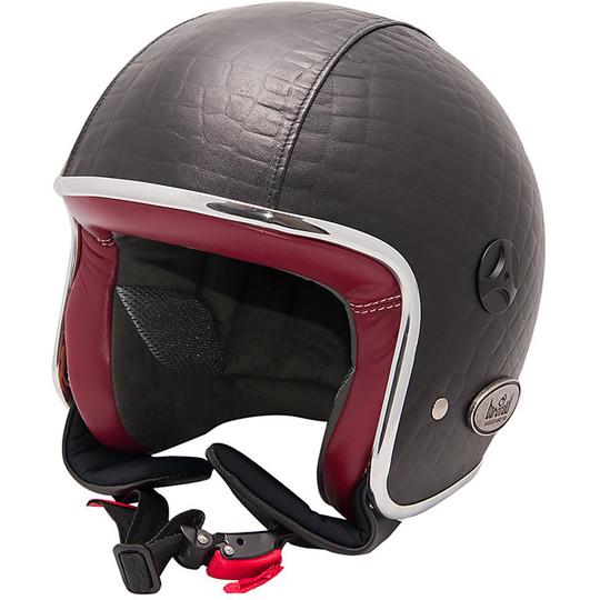 Casque de moto Jet vintage en cuir Baruffaldi fibre Zeon Crocco noir rouge