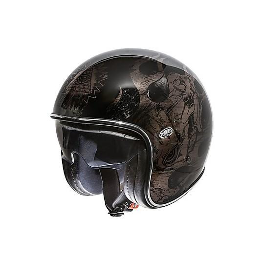 Casque de moto Jet Vintage en fibre Premier VINTAGE EVO BD noir chromé noir brillant