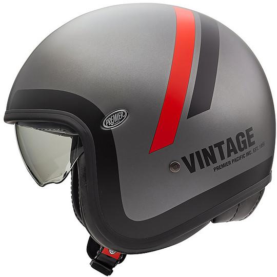 Casque de moto Jet Vintage en fibre Premier VINTAGE EVO DO17 BM gris mat