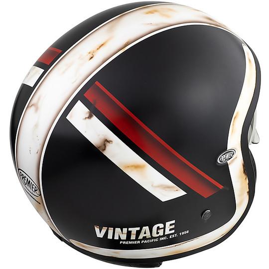 Casque de moto Jet Vintage en fibre Premier VINTAGE EVO DO92 Old Style BM Matt Black