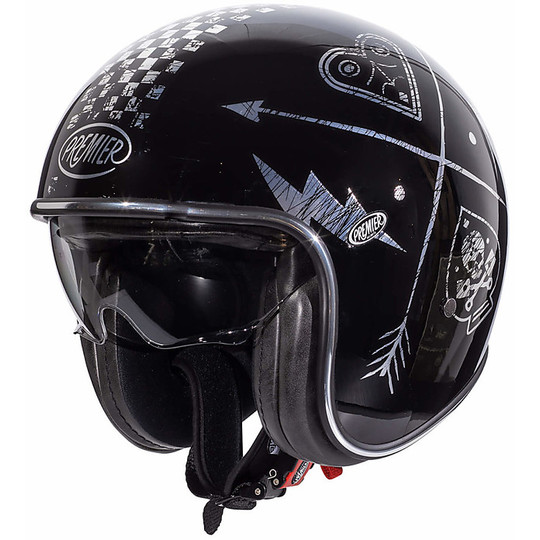 Casque de moto Jet Vintage en fibre Premier VINTAGE EVO NX Silver Chromed Black Silver