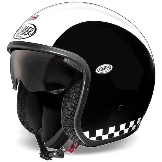 Casque de moto Jet Vintage en fibre Premier VINTAGE EVO Retro blanc noir