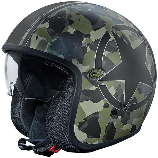 Casque de moto JetPremier fibre vintage avec visière intégrée camouflage SBM édition limitée