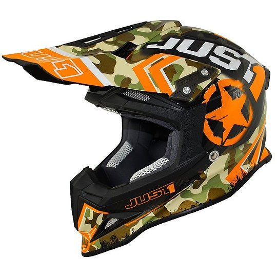 Casque de moto Just One Cross Enduro en couleur orange Kombat carbone