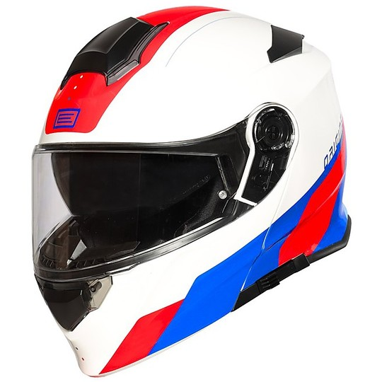 Casque de moto modulable DELTA Basic DIVISION Rouge Bleu Blanc Brillant