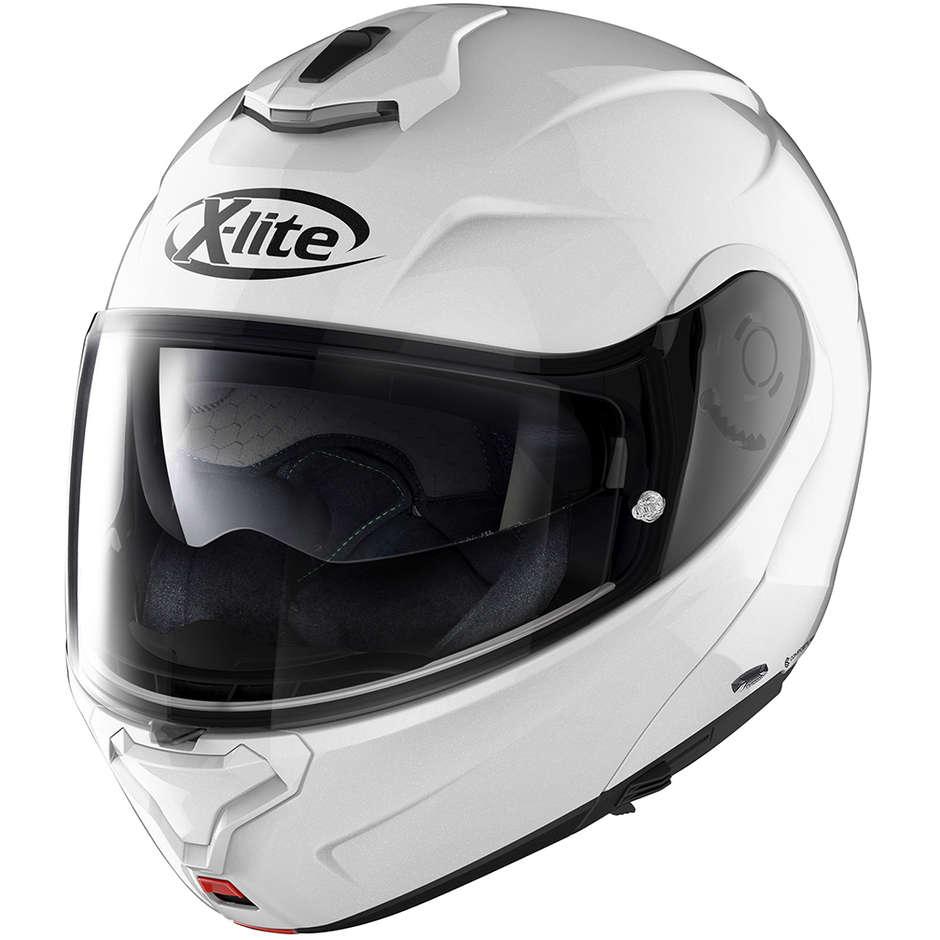 Casque de moto modulable en X-Lite X-1005 ELEGANCE N-Com 003 en fibre de métal blanc