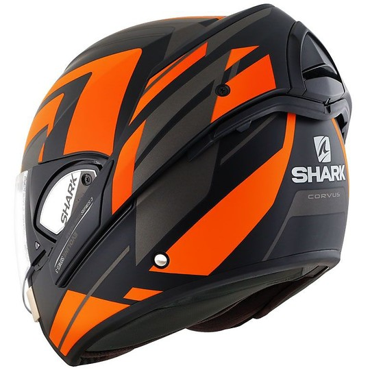 Casque de moto modulable Shark EVOLINE 3 CORVUS noir mat orange