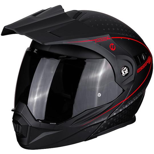 Casque de moto modulaire Adventure Scorpion ADX-1 HORIZON Matt Black Red