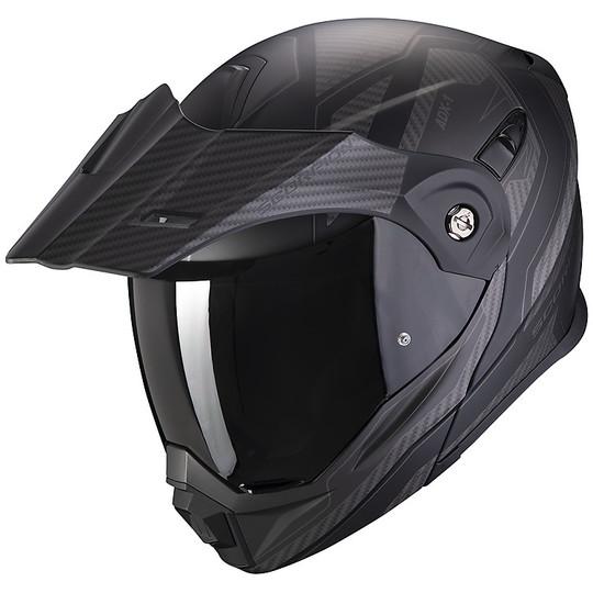 Casque de moto modulaire Adventure Scorpion ADX-1 TUCSON Matt Black Carbon Black