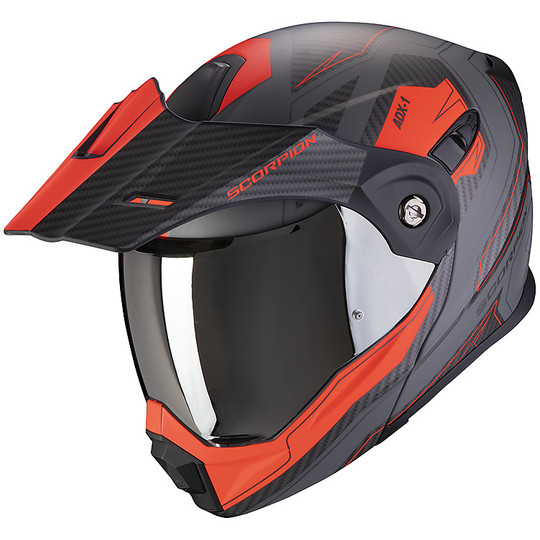 Casque de moto modulaire Adventure Scorpion ADX-1 TUCSON Matt Grey Red