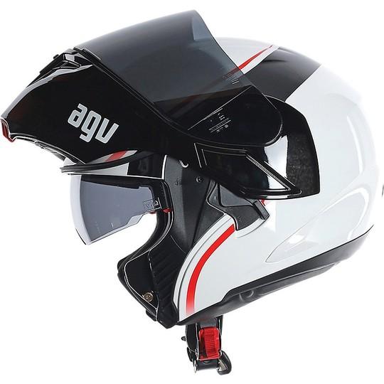 Casque de moto modulaire AGV Compact ST Vermont blanc noir rouge