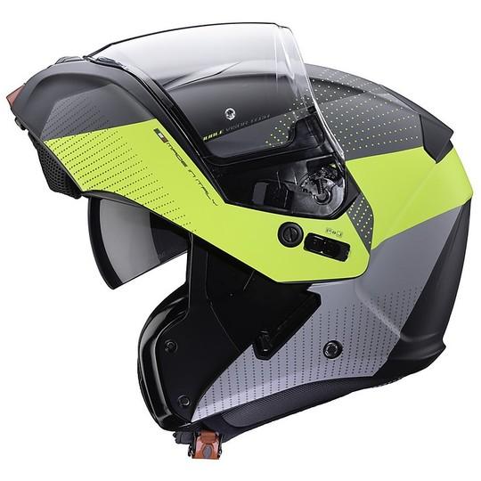 Casque de moto modulaire approuvé P / J Caberg HORUS SCOUT noir mat jaune fluo anthracite
