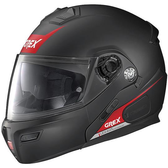 Casque de moto modulaire approuvé P / J Grex G9.1 Evolve VIVID N-Com 036 Matt Black Red