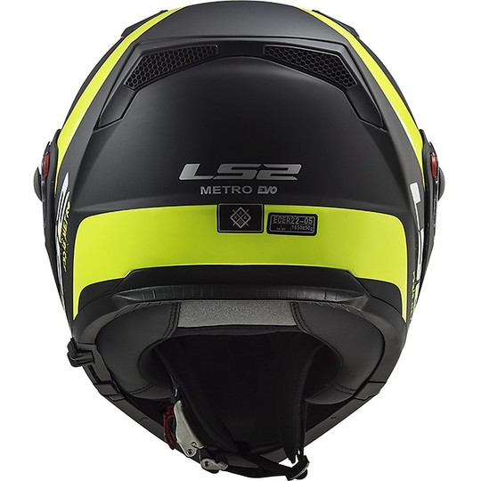 Casque de moto modulaire approuvé P / J Ls2 FF324 METRO EVO Rapid noir jaune fluo mat