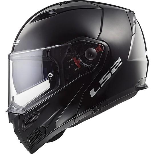 Casque de moto modulaire approuvé P / J Ls2 FF324 METRO EVO Solid Glossy Black