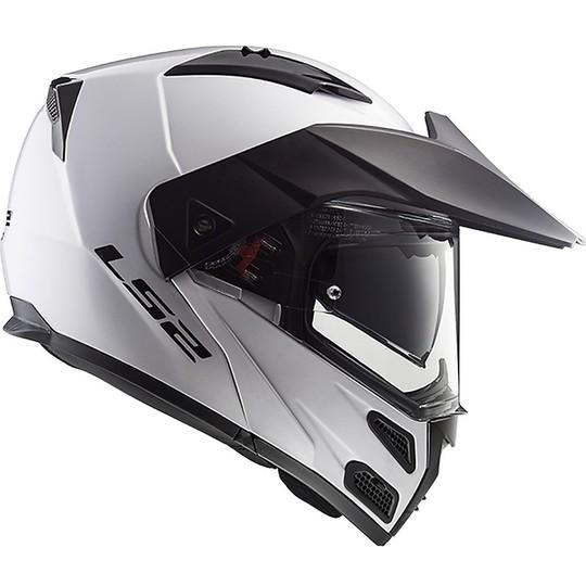 Casque de moto modulaire approuvé P / J Ls2 FF324 METRO EVO Solid Glossy White