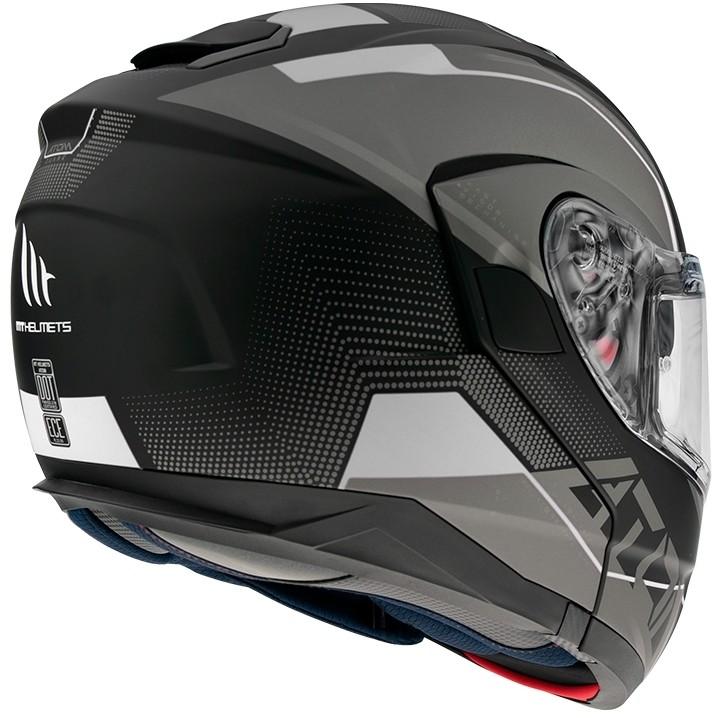 Casque de moto modulaire approuvé P / J Mt Casque ATOM QUARK A0 Noir Blanc brillant