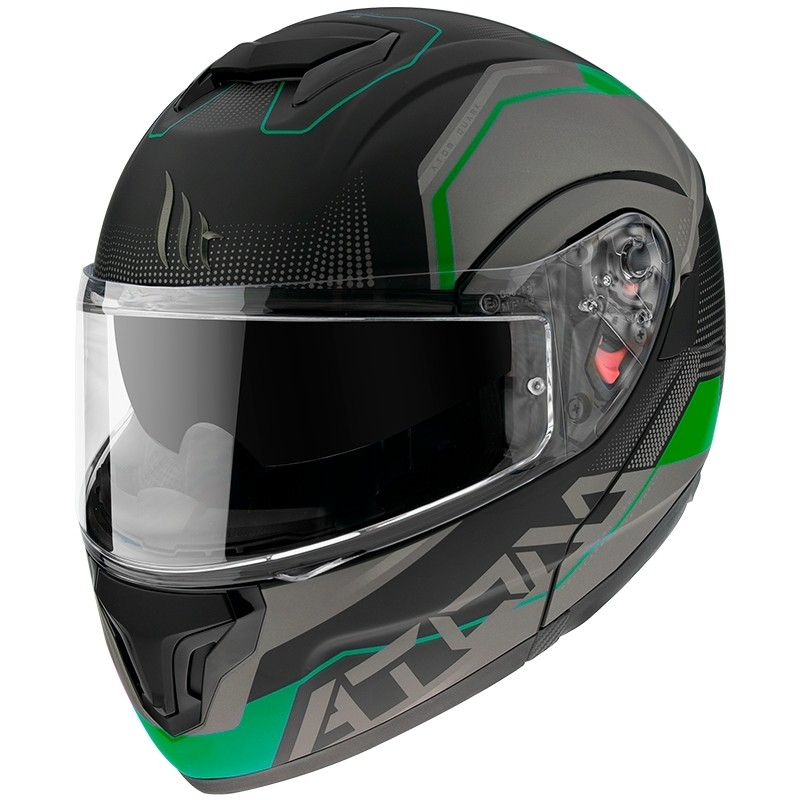 Casque de moto modulaire approuvé P / J Mt Casque ATOM QUARK A6 Matt Black Fluo Green