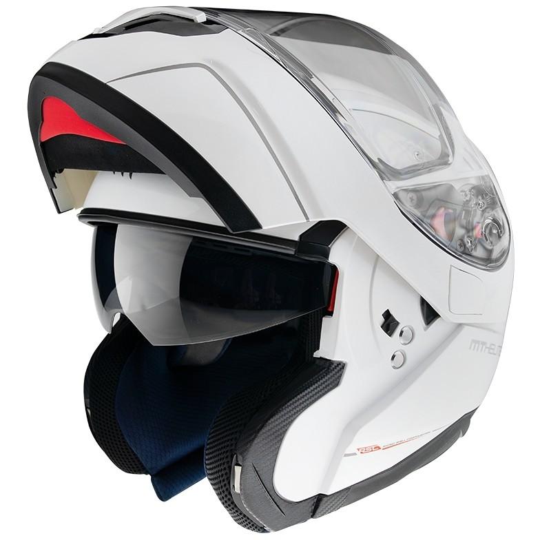 Casque de moto modulaire approuvé P / J Mt Casque ATOM sv Solid Pearl White