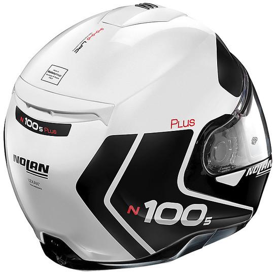 Casque de moto modulaire approuvé P / J Nolan N100.5 Plus DISTINCTIVE N-Com 022 White Metal