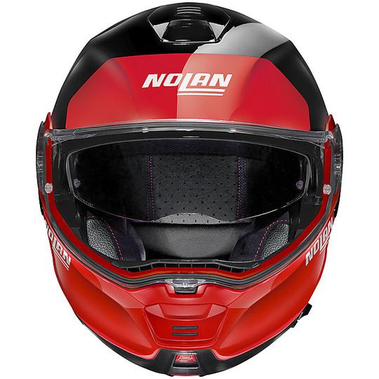 Casque de moto modulaire approuvé P / J Nolan N100.5 Plus DISTINCTIVE N-Com 027 Glossy Black Red