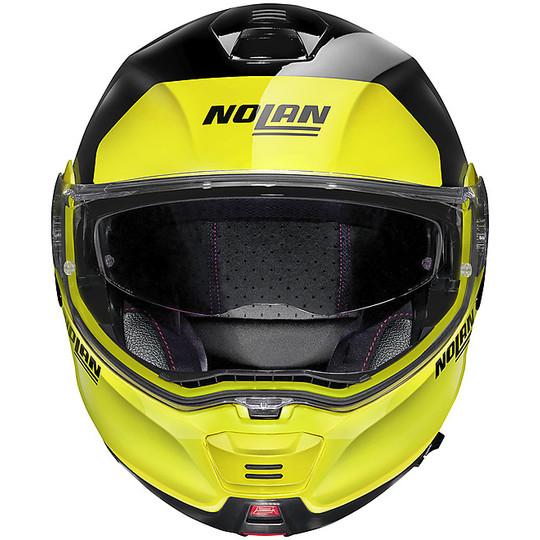 Casque de moto modulaire approuvé P / J Nolan N100.5 Plus DISTINCTIVE N-Com 028 Glossy Black Yellow