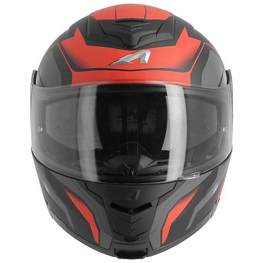 Casque de moto modulaire Astone RT1200 Works Black Matt Red