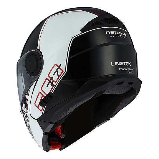 Casque de moto modulaire Astone RT800 Linetek Noir Rouge