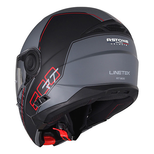 Casque de moto modulaire Astone RT800 Linetek Rouge Gris