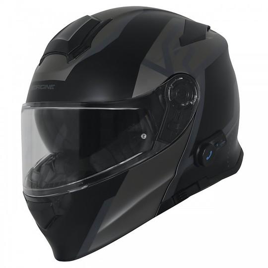 Casque de moto modulaire avec Bluetooth Origin intégré DELTA LEVEL Noir Gris mat