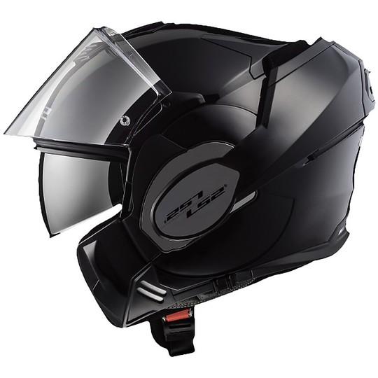 Casque de moto modulaire avec LS2 FF399 VALIANT protège-menton pliant solide noir mat