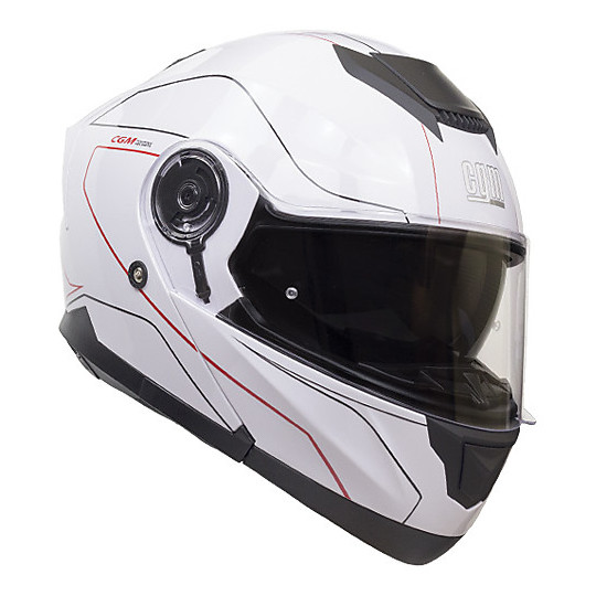 Casque de moto modulaire CGM 506 g KYOTO Glossy White Red