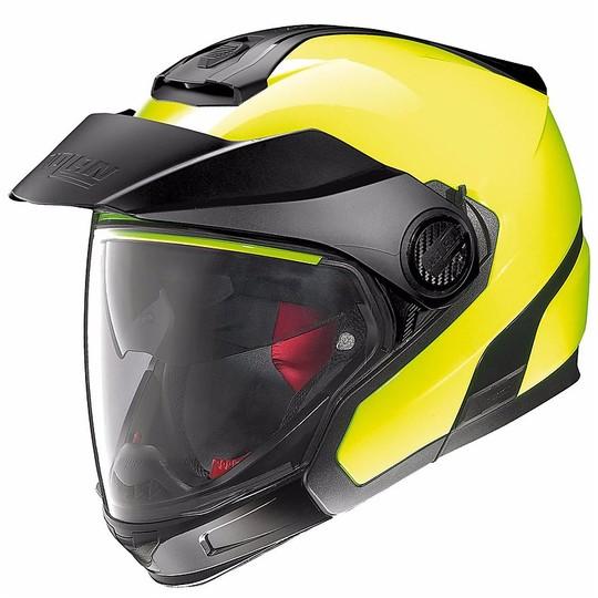 Casque de moto modulaire Crossover Nolan N40.5 GT haute visibilité N-COM jaune fluo