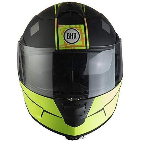 Casque de moto modulaire double visière BHR 805 POWER Noir Jaune