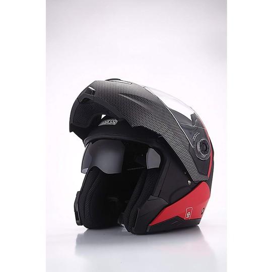 Casque de moto modulaire double visière BHR Sparco SP505 noir rouge