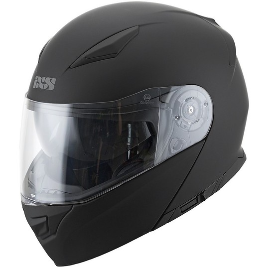 Casque de moto modulaire double visière Ixs 300 1.0 noir mat