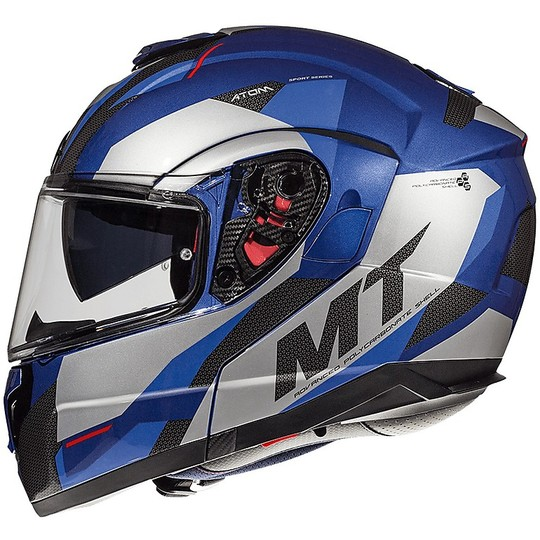Casque de moto modulaire Double visière MT Casque ATOM SV TRANSCEND E7 Glossy Blue