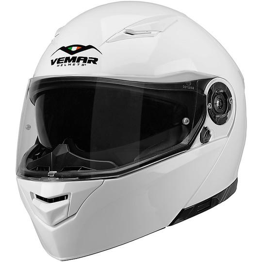 Casque de moto modulaire double visière Vemar NASHI Blanc