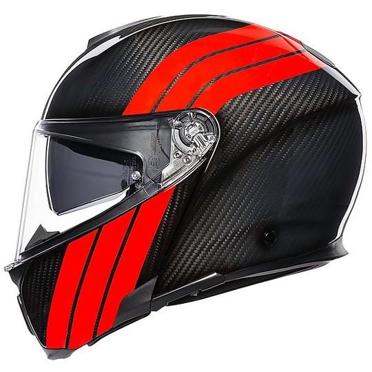 Casque de moto modulaire en carbone AGV Sportmodular Multi STRIPES Carbon Red