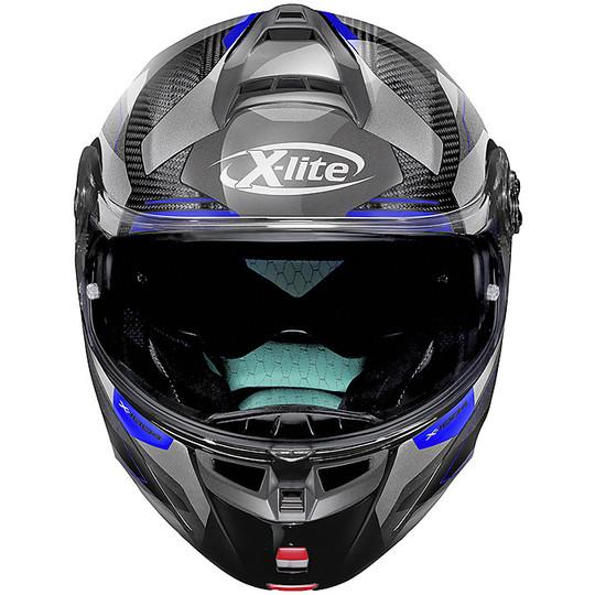 Casque de moto modulaire en carbone X-Lite X-1004 Ultra Carbon DEDALON N-Com 019 Glossy Black Blue