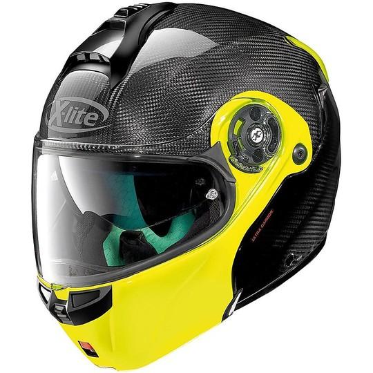 Casque de moto modulaire en carbone X-Lite X-1004 Ultra Carbon DYAD N-Com 004 Yellow Fluo