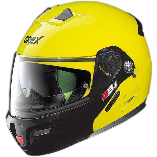 Casque de moto modulaire Grex G9.1 Evolve Couplè N-COM Jaune Led