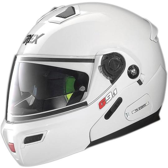 Casque de moto modulaire Grex G9.1 Evolve Kinetic N-COM Blanc brillant