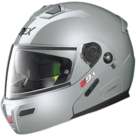 Casque de moto modulaire Grex G9.1 Evolve Kinetic N-COM Glossy Silver