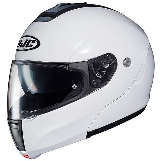 Casque de moto modulaire HJC C90 double visière blanc nacré
