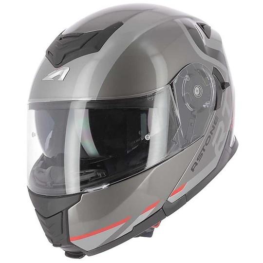 Casque de moto modulaire Homologation P / J Astone RT1200 KING Glossy Grey