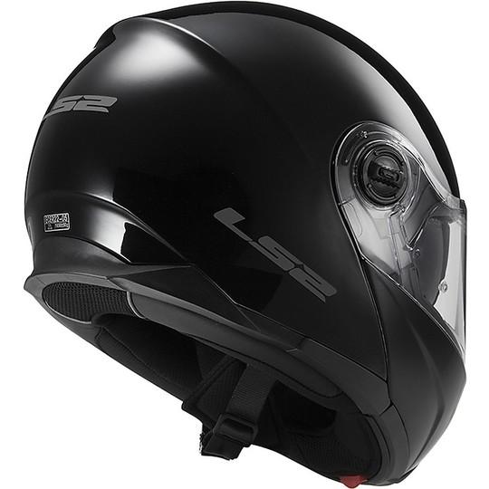 Casque de moto modulaire LS2 Double Visor FF 325 Strobe Glossy Black