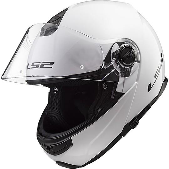 Casque de moto modulaire LS2 Double Visor FF 325 Strobe Glossy White