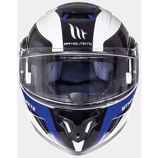 Casque de moto modulaire MT Casques ATOM sv Tarmac Noir Blanc Bleu